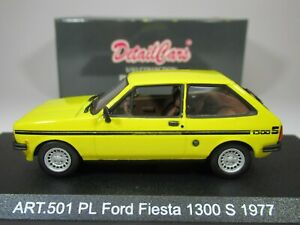 DETAIL CARS, 1:43 scale FORD FIESTA 1300S,1977 in YELLOW (LHD) Ref 501