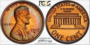 1969-S 1c LINCOLN MEMORIAL PENNY PCGS PR67RB CIRCLE TONED ONLY 3 HIGHER
