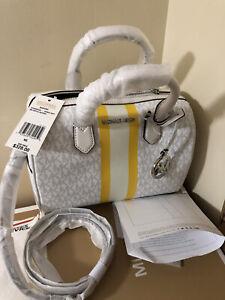 Michael Kors Bedford Small Logo Stripe Satchel White Handle Retail $328