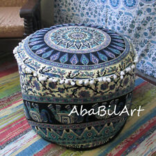 "18"" Round Pouf Ottoman Cover Deer And Elephant Mandala Foot Stool Pouf Covers"