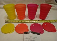 Tupperware 16-oz Impressions Tumblers & Straw Seals Set 'Hot on the Spot' New