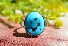 Vibrant Navajo Sterling Silver Ring Free Form Sleeping Beauty Turquoise Size 7