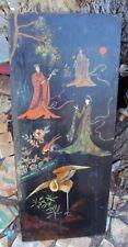 Ancienne peinture Asiatique peint sur panneau de bois début 20 ème