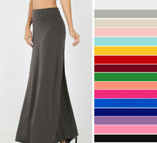 Women's Solid Maxi Skirt Soft Jersey Knit Casual Long Basic Fold Waist Stretchy