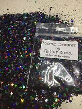 Nail Art Mixed Glitter ( Cosmic Dreams) 10g Bag Chunky Holographic Black Silver