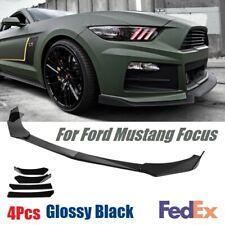 Fit Ford Mustang 2000-2020 Glassry Black Front Bumper Lip Spoiler Splitters 4Pcs