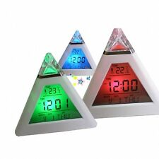 Pyramid Mood Clock Temperature 7 Color LED Change Backlight LED Moon Alarm Clock