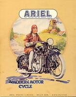 "ariel motor bikes vintage advert print poster canvas art 36"" x 24"""