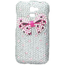 For MetroPCS Huawei Premia M931 Crystal Diamond BLING Case Cover Pink Bow SIlver