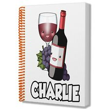 A5 Personalised Notebook Pad Birthday Christmas Gift Ladies Mens Adults RED WINE