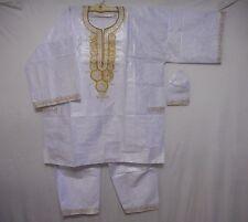 Mens 3Pcs Brocade Dashiki Pant Suit Set African Clothing boho White Free Size