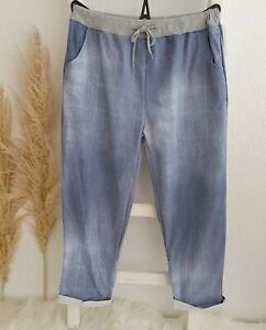 Damen Jogging Sweat Hose Jogpants Freizeit Jeans Optik Batik Hell Blau 46 48 50