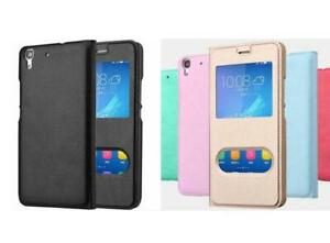Luxurious PU Leather Flip Skin view window Case Cover For Huawei Y6