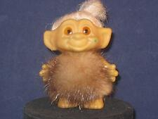 "2.1/2"" VTG SCANDIA TROLL ORG.SHORT PINK ROOTED HAIR,YELLOW SPIRAL EYES & FURu401"