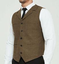 Mens Vest Vintage Tweed Waistcoat Herringbone Slim Wool Casual Wedding Fit S-3XL