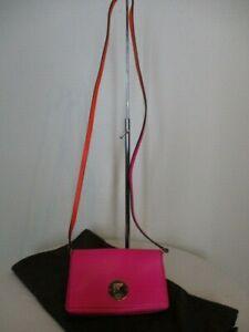 Kate Spade Foldover Crossbody Bag Diamond Turnlock Leather in Hot Pink w Bag