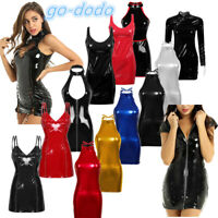 Women Sleeveless Shiny Patent Leather Bodycon Cocktail Evening Party Mini Dress