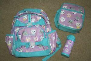 Pottery Barn Kids Kitty Cat Mackenzie Large Backpack Lunchbox Water Bottle ELLIE