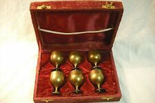 Vintage Brass 6 Piece Cordial Set with Case