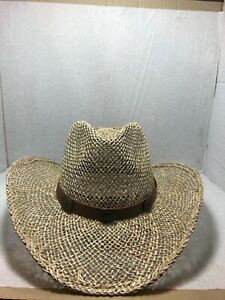 """STETSON ROCKY MOUNTAIN MENS  VENTED SEAGRASS HAT  3 3/4"""" BRIM leather band NWT"""