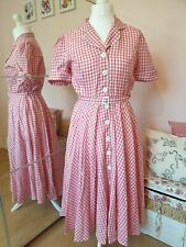 Pink Gingham Retro Swing Campbell Crafts Diner Dress Size 14