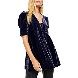 MSRP $148 Free People Women's Adelle Velvet Tunic Indigo Blue Size Medium