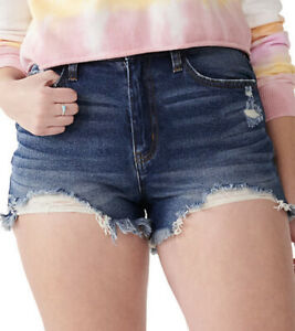 Women's Junior's SO High Rise Destructed Stretch Curvy Mom Shorts  Size 9 NWT