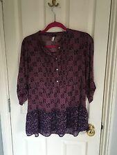 Next Purple Pattern Sheer Blouse, Size 8, VGC