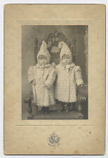 IMPERIAL CABINET PHOTO IDENTICAL TWINS IN PIXIE-LIKE OUTFITS DEXTER, MAINE