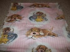 Vintage Sue Hall Pink Puppy Bear Cat Mouse Twin Fitted Bed Sheet {Fabric}