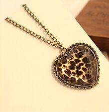 Fashion jewelry Leopard Heart Retro long Pendant sweater Chain Necklace ZS149