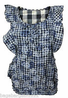 NEW LADIES DOROTHY PERKINS BLUE GREY WHITE CHECK SMOCK TUNIC SUMMER COTTON TOP