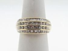 0.85ctw Genuine Diamonds 10mm Band 10k Yellow Gold Ring FREE Sizing
