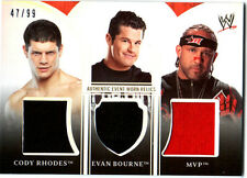 WWE Cody Rhodes Evan Bourne MVP 2010 Topps Platinum Triple Relic Card SN 47 / 99