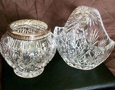 Crystal Rose Bowl And Basket