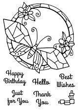 Woodware Clear Singles Rubber Stamp - Mosaic Butterfly Round FRS634