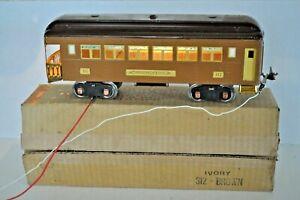LIONEL PRE WAR 312 LIONEL LINES BROWN OVER BROWN OBSERVATION CAR IN BOX