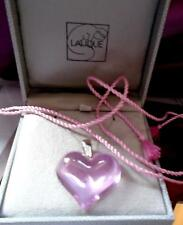 LALIQUE BEAUTIFUL LARGE HEART STUNNING  PINK  & 9CT GOLD WHITE GOLD CHAIN LUXURY