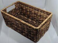 VTG Wire Frame Hand-Woven Wicker/Rattan Rectangle Storage Basket - Handles