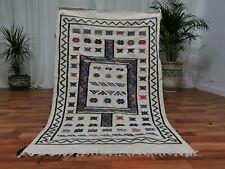 Moroccan White Handmade wool carpet 3'x5' Berber Nomad Sahara Kilim wool Rug M1