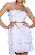 Sexy Miss Femme Bandeau Dentelle Paillettes Mini Robe Volant Été 34/36/38 Blanc