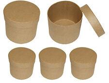 5 Stück Roh - Schachtel Rund Ø 8 x 7,3 cm  zum bemalen bekleben basteln