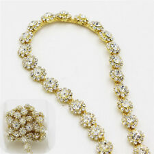 1Yard Fashion Bridal Rhinestone Crystal Trimming Sewing Trim Dress Costume Chain