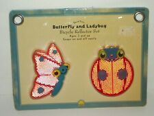 """Bicycle Reflector Set Pink BUTTERFLY & Red LADYBUG Snaps On & Off 3"""" New"""