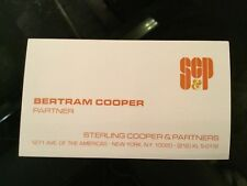MAD MEN TV Drama Series Original Movie Prop BERTRAM COOPER Business Card SC&P