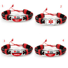 medical alert DIabetic type 1& 2 Genuine Leather umbrella camping Bracelets
