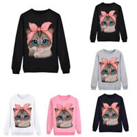 Women Cute Cat Printed Sweatshirt Pullover Ladies Long Sleeve O-Neck Tops Blouse