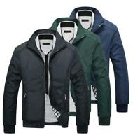 Mens Jackets Spring Summer Bomber Coats Casual Outfit Zip Tops Outerwear Plus Sz