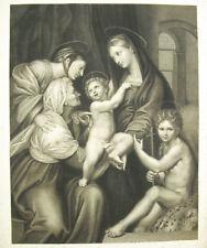 La Vierge de l'Impannata Madonna dell gravure XVIII-XIXe d'après Raphaël 33cm