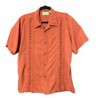 Cubavera Button Down Short Sleeve Embroidered Shirt Rayon Polyester Mens Large